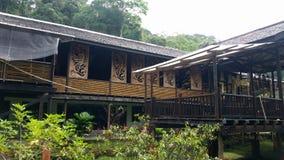 伊班族部落Longhouse在婆罗洲沙捞越 免版税库存图片