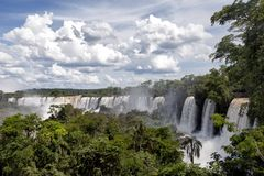 伊瓜苏从阿根廷边的瀑布视图 免版税库存图片