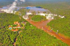 伊瓜苏瀑布鸟瞰图  免版税图库摄影