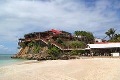 伊甸园岩石旅馆在圣Barts,法属西印度群岛 库存照片