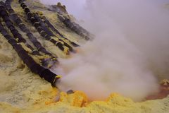 伊真火山火山口,印度尼西亚 图库摄影