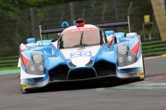 伊莫拉,意大利2016年5月13日:阿尔加威赞成赛跑的PRT D Ligier JS P2 -在伊莫拉榆木回合的日产2016年 免版税图库摄影