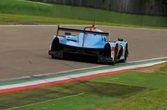 伊莫拉,意大利2016年5月13日:阿尔加威赞成赛跑的PRT D Ligier JS P2 -在伊莫拉榆木回合的日产2016年 免版税库存照片