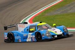 伊莫拉,意大利2016年5月13日:M 赛跑- YMR FRA Ligier JS P3 -日产托马斯劳伦特FRA伊莫拉榆木回合的Yann Ehrlacher 2016年 免版税库存照片