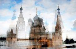 伊莱贾教会先知在雅罗斯拉夫尔市(俄罗斯) 艺术性的拼贴画纸张水彩 图库摄影