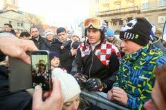 伊维察摆在世界雪天的Kostelic 免版税库存照片