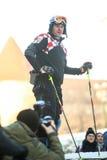 伊维察摆在FIS世界雪天的Kostelic 图库摄影