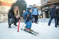 伊维察Kostelic滑雪的儿子 库存图片