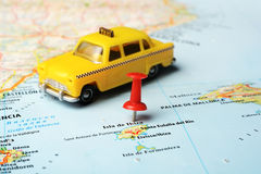 伊维萨岛海岛,西班牙地图出租汽车汽车 库存图片