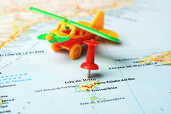 伊维萨岛海岛,西班牙地图飞机 免版税库存图片