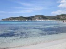 伊维萨岛海滩场面 免版税图库摄影