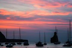 伊维萨岛Benirras海滩日落 免版税库存图片