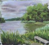 伍兹湖,树,云彩,油画 库存照片