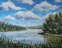 伍兹湖,树,云彩,油画 免版税库存照片