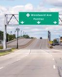 伍德沃德大道标志,伍德沃德梦想巡航 MI 免版税图库摄影