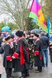 伏尔加格勒,俄罗斯- 11月04 2016年 天的庆祝的哥萨克人民族团结 免版税库存图片