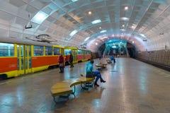伏尔加格勒,俄罗斯- 11月01 2016年 对列宁广场-驻地的电车地下高速 库存照片