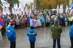 伏尔加格勒,俄罗斯- 11月04 2016年 庆祝11月4日民族团结天 库存照片