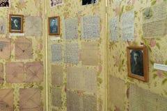 伏尔加格勒,俄罗斯2016年11月02日 战士`信件在记忆博物馆-安置囚禁法西斯主义的法警保罗斯  库存照片