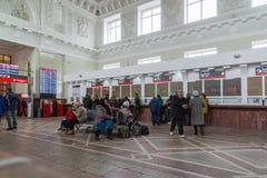 伏尔加格勒,俄罗斯- 11月04 2016年 火车站内部  库存图片