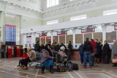 伏尔加格勒,俄罗斯- 11月04 2016年 火车站内部  库存照片
