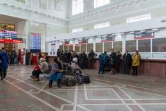 伏尔加格勒,俄罗斯- 11月04 2016年 火车站内部  图库摄影