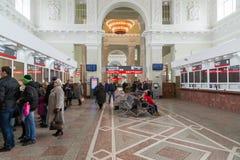 伏尔加格勒,俄罗斯- 11月04 2016年 火车站内部  免版税图库摄影