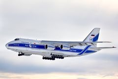 伏尔加河德聂伯级航空公司安托诺夫安-124 Ruslan 免版税库存图片