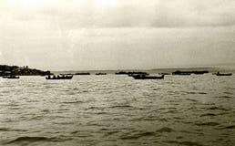 伏尔加河的喀山渔夫在黎明1962年 图库摄影