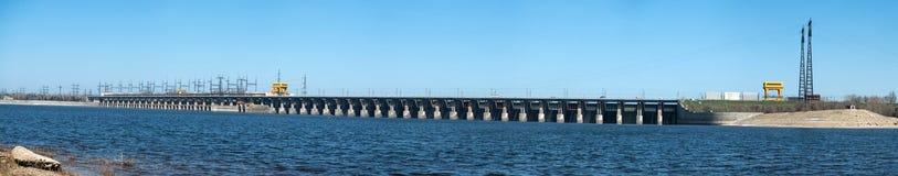 伏尔加河水力发电的驻地 库存图片