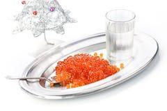 伏特加酒和红色鱼子酱 免版税库存照片