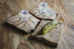 伏特加酒和酱瓜 免版税库存图片