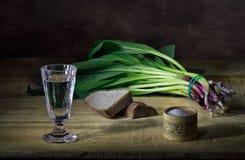 伏特加酒和野葱 免版税库存图片