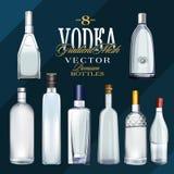 伏特加酒瓶的各种各样的类型 也corel凹道例证向量 库存照片