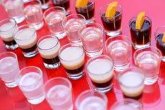 伏特加酒, B52, jagermeister,龙舌兰酒射击  库存照片