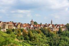 巴伐利亚德国河rothenburg tauber 库存照片