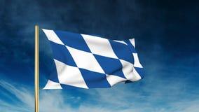 巴伐利亚旗子滑子样式 挥动在胜利与 股票录像