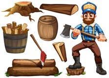 伐木工人和木柴 图库摄影