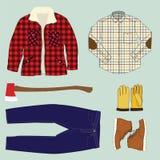 伐木工人工作衣物 免版税库存照片