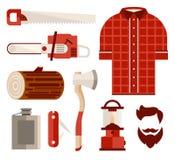 伐木工人木头和工具平的样式的 向量 图库摄影