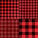 伐木工人红色水牛城检查格子花呢披肩和正方形映象点方格花布样式 向量例证