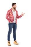 伐木工人衬衣指向的人 免版税库存图片