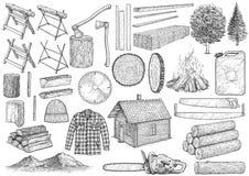 伐木工人设备汇集例证,图画,板刻,墨水,线艺术,传染媒介 皇族释放例证
