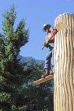 伐木工人雕象 免版税图库摄影
