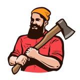 伐木工人,与轴的axeman在手上 木匠业,木工,锯木厂概念 外籍动画片猫逃脱例证屋顶向量 库存例证