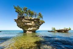 休伦湖` s白萝卜岩石,在口岸奥斯汀密执安附近 免版税库存图片