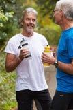 休假的两位成熟公慢跑者,在奔跑 库存图片