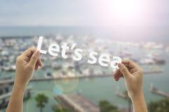 休假 去海滩! 库存照片