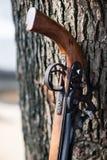 休息反对树的中国少数的手工制造步枪 库存图片