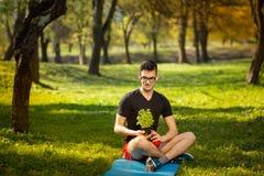 休息在一张蓝色席子的一个公园的玻璃的年轻人,在手中拿着新鲜的蓬蒿在绿色背景 健康生活方式 图库摄影